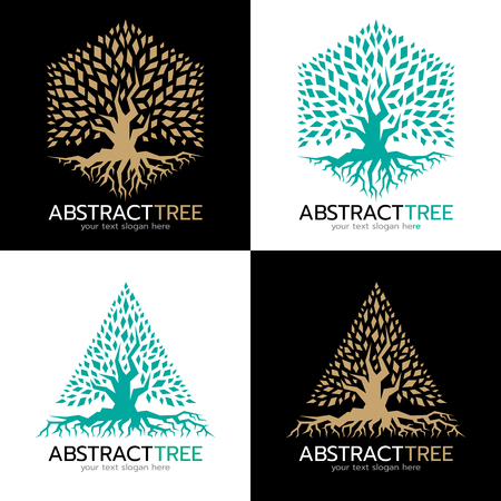 roots: Green and gold Hexagonal and triangle abstract tree logo vector art design