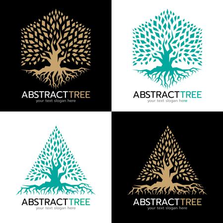 Zielony i Złoty Hexagonal i trójkąt abstrakcyjna drzewa logo wektor sztuki projektowania