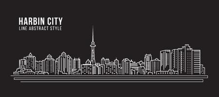 property of china: Cityscape Building Line art Illustration design - Harbin city