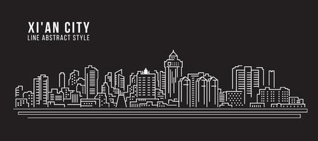 property of china: Cityscape Building Line art Vector Illustration design - Xian city