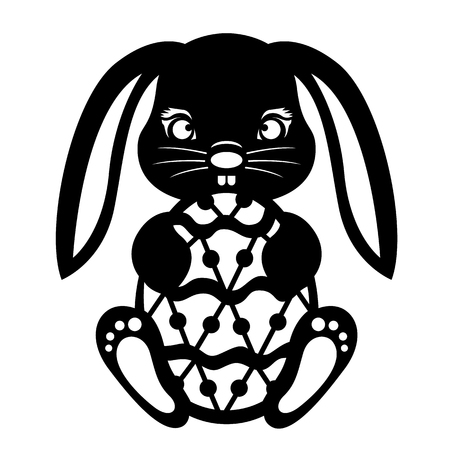 Black Rabbit Holding Easter Egg Paper cut vector design