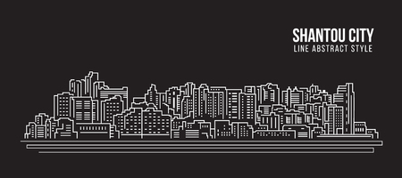 property of china: Cityscape Building Line art Vector Illustration design - Shantou city Illustration