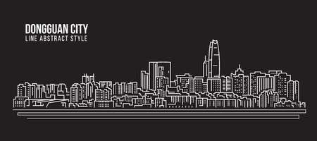 property of china: Cityscape Building Line art Vector Illustration design - Dongguan city
