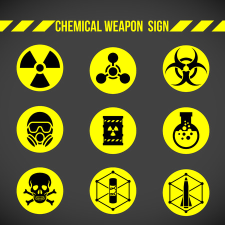 hazardous substances: Black and yellow Chemical weapon on circle sign vector set design
