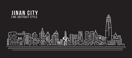 property of china: Cityscape Building Line art Vector Illustration design - Jinan city