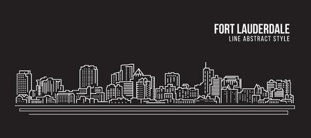 都市の景観建物ライン アート ベクトル イラスト デザイン - フォート ローダーデール シティ