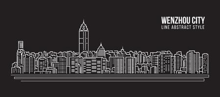 property of china: Cityscape Building Line art Vector Illustration design - Wenzhou city Illustration