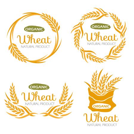 Progettazione organica di vettore del segno dell'insegna dell'alimento dei prodotti del grano del riso della risaia Vettoriali