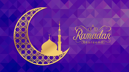 arabic background: Ramadan kareem - Gold arabic moon and mosque on low poly purple background vector design
