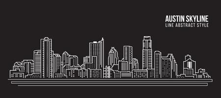 도시 건물 라인 아트 벡터 일러스트 레이 션 디자인 - 오스틴 스카이 라인 도시