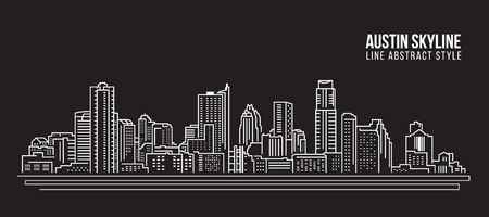Cityscape Building Line art Vector Illustration design -  Austin skyline city
