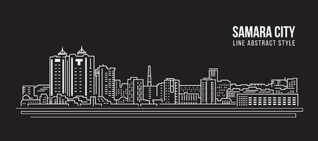 Cityscape Building Line art Vector Illustration design - Samara