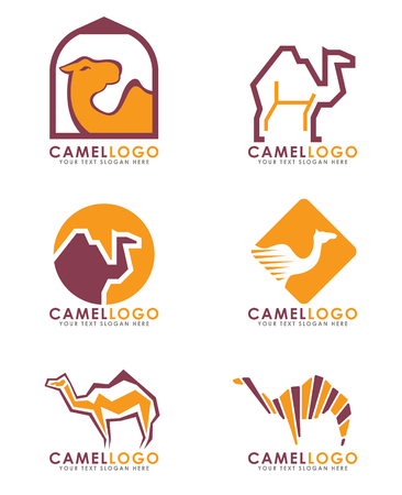 Camel arabian logo vector set art design Ilustracja