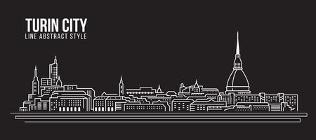 Cityscape Building Line art Vector Illustration design - Turin city