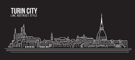 Cityscape Building Line art Vector Illustration design - Turin city