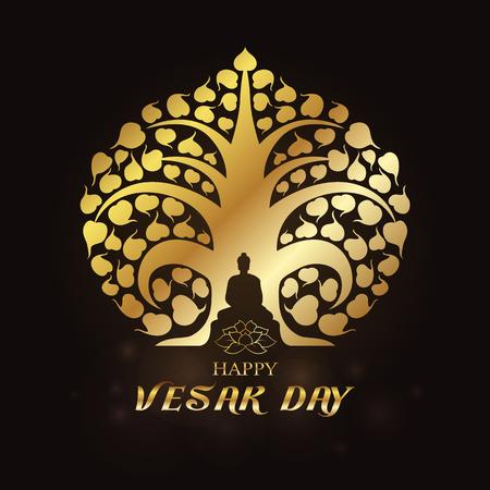 Happy Vesak day - Gold Buddha under Bodhi Tree and lotus art vector design
