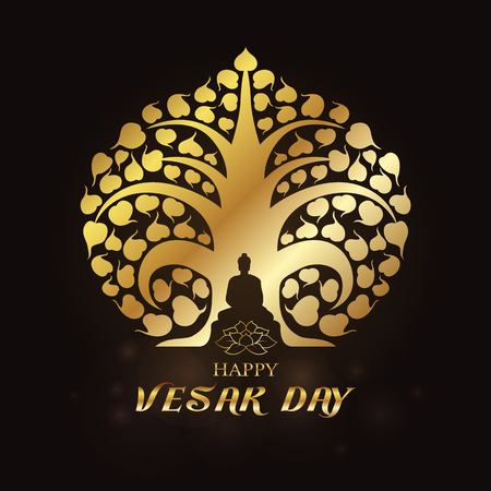 Happy Vesak day - Gold Buddha under Bodhi Tree and lotus art vector design 免版税图像 - 77828622