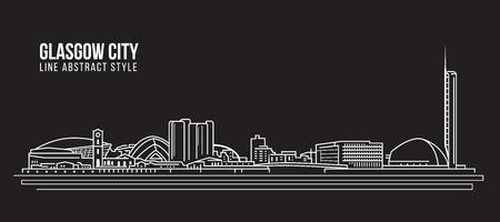 Allineamento dei fabbricati di paesaggio urbano progettazione dell'illustrazione di vettore di arte - città di Glasgow