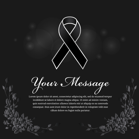 melanoma: funeral card - Black ribbon in silver border and place for text and rose flower frame vector design