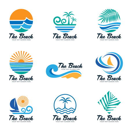The beach logo with sea wave , coconut leaf , boat and sun vector set design