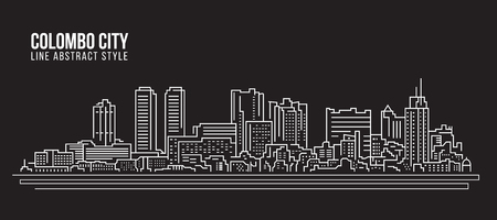 colombo: Cityscape Building Line art Vector Illustration design - colombo city