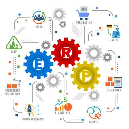 Enterprise resource planning (ERP) module gear Construction flow icon art abstract vector design Illustration