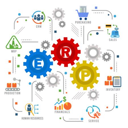 Enterprise resource planning (ERP) module gear Construction flow icon art abstract vector design Vectores