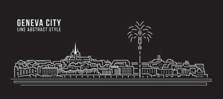 Paisaje urbano Línea de construcción Ilustración vectorial diseño - ciudad de Ginebra
