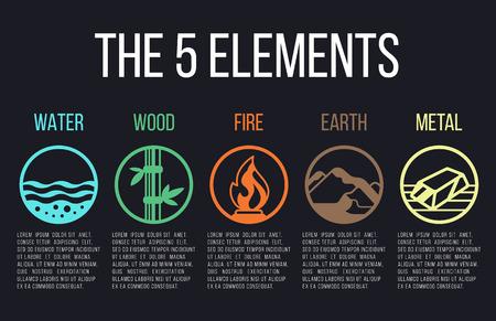 自然の 5 つの要素はサークル線アイコンの標識です。水、木、火、地球、金属。暗い背景。  イラスト・ベクター素材