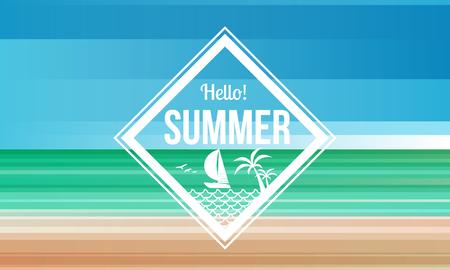 Hello zomer diamant label op zand en zee strand abstracte achtergrond vector design.
