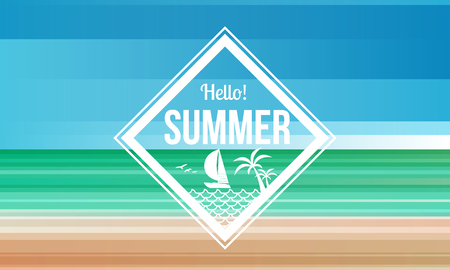 Hello summer diamond label on Sand and sea beach abstract background vector design.