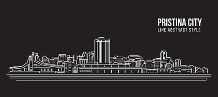 Cityscape Building Line art Vector Illustration design - Pristina city. Фото со стока - 79408889