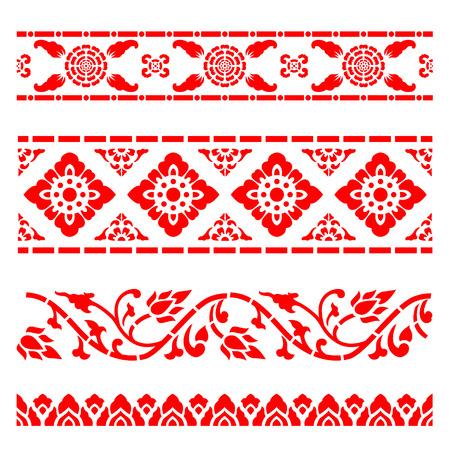 Line border pattern Asian traditional art Design Vector, Thai traditional design (Lai Thai pattern)