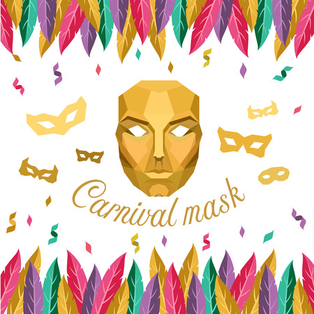Carnival mask with Low poly Gold mask and feather vector design Illustration