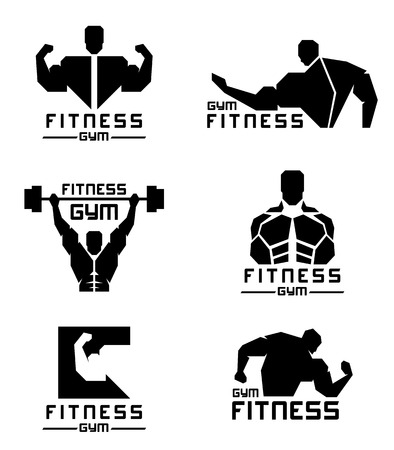 black men: Black Fitness gym logo with Men have strong muscles vector set design