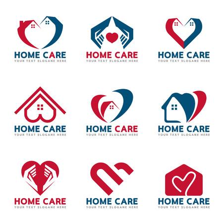 Rot und blau Home Herz und Pflege Logo Vektor Set Design Standard-Bild - 79806250