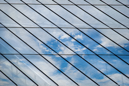 glasshouse: Glass roof Mirror Reflection On Sky and cloud Stock Photo