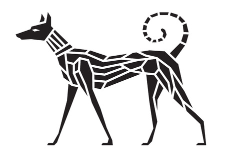 黒犬のシンボルの抽象的なベクトル芸術をシャープ  イラスト・ベクター素材