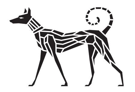Black dog symbol abstract sharp art vector design