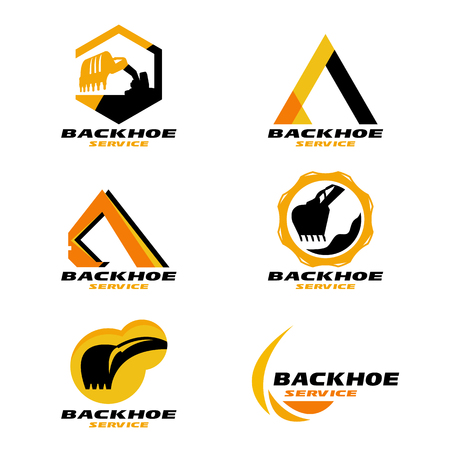 tractor warning: Yellow and Black Backhoe service logo vector set design Illustration