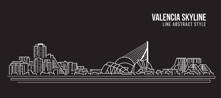 Cityscape Building Line art Vector Illustration design - Valencia skyline