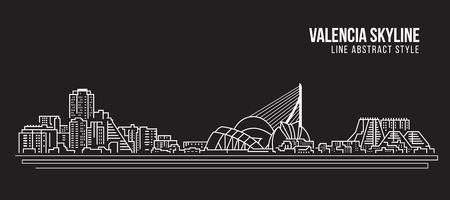 Cityscape Building Line art Vector Illustration design - Valencia skyline