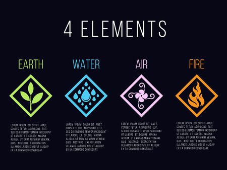 Nature 4 elements in diamond line border abstract gradient icon sign. Water, Fire, Earth, Air. on dark background. Illustration