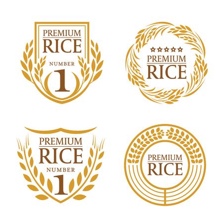 Oranje bruin het embleem vectorontwerp van het padieproduct organisch natuurproduct Stock Illustratie
