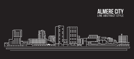 都市の景観建物ライン アート ベクトル イラスト デザイン - アルメレ ・ シティ