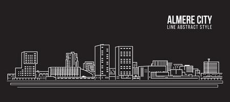 도시 건물 라인 아트 벡터 일러스트 레이 션 디자인 -Almere 도시 스톡 콘텐츠 - 81444910