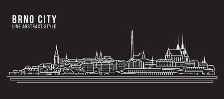 Cityscape Building Line art Vector Illustration design - Brno city