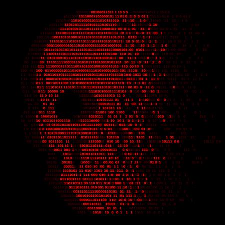Rode schedel digitale logica nul en één nummer voor virusbeveiliging abstract vectorontwerp Vector Illustratie