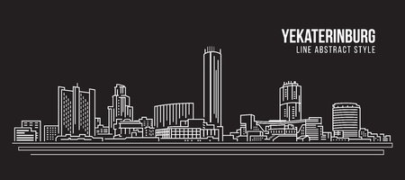 Cityscape Building Line art Vector Illustration design - Yekaterinburg city