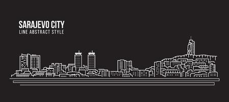 Cityscape Building Line art Vector Illustration design - Sarajevo city
